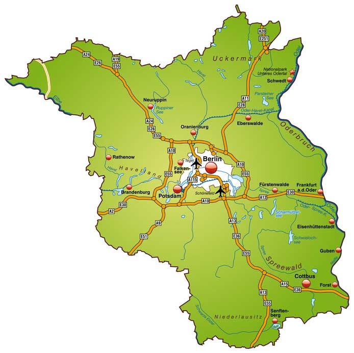 Landkarte Berlin Brandenburg