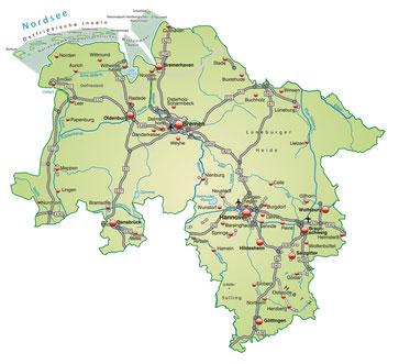 Karte von Niedersachsen